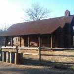 Log cabin, shown w/o snow